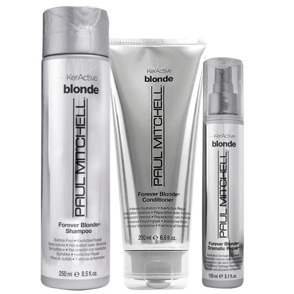 Paul Mitchell KerActive Blonde Forever Blonde Shampoo 8.5 oz, Plus Conditioner 6.8 oz & Dramatic Repair 5.1 oz