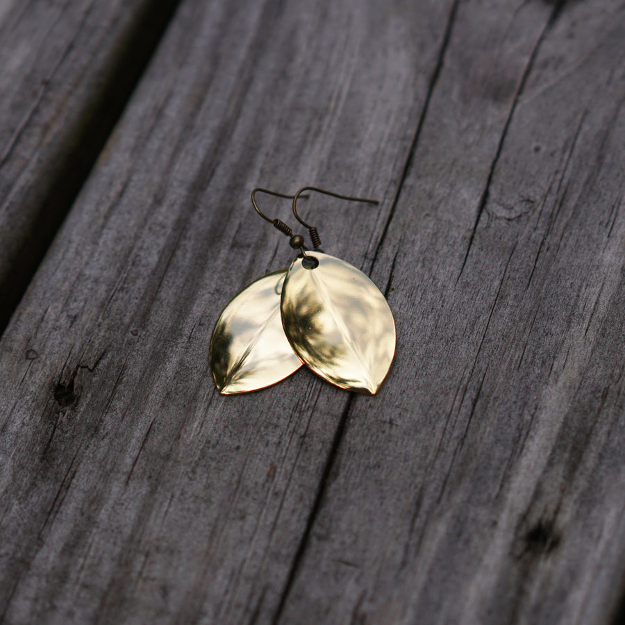 24kt Gold Plated Mag Willow Blade Earrings