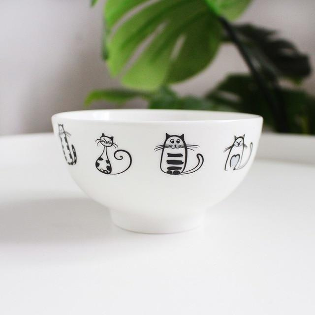 Ceramic Cat Bowl & Spoon Set
