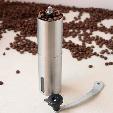 Silver Coffee Grinder Mini Stainless Steel Hand Manual