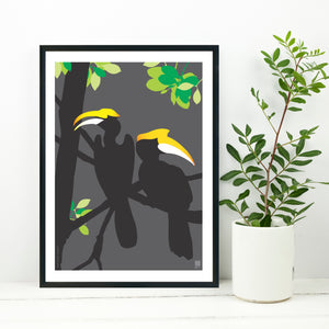 Great Hornbill Grey - Print Only - NEST by Arpit Agarwal