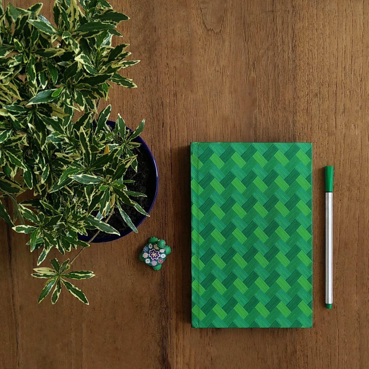 Forest Green Bamboo Mat Pattern Notebook - NEST by Arpit Agarwal
