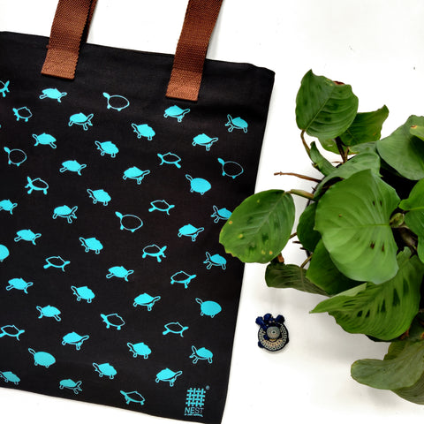 Assam Roofed Turtle Inspired Carry Everywhere Tote - Black - NEST by Arpit Agarwal