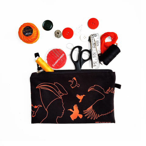 Great Hornbill Canvas Utility Pouch - Orange