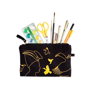 Great Hornbill Canvas Utility Pouch - Yellow