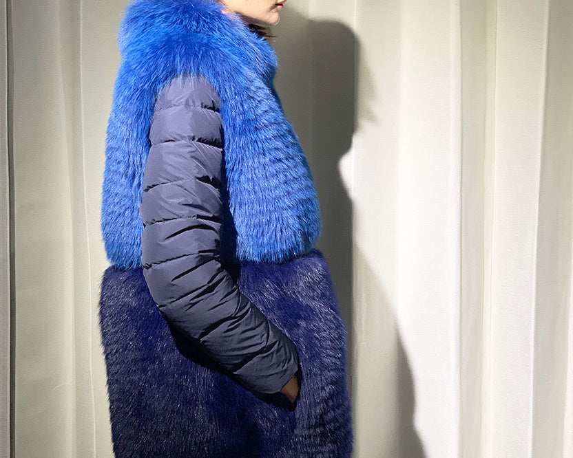 Reversible Fox Coat with Goose in Blue
