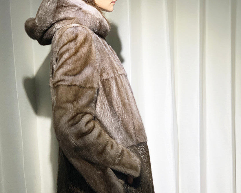 Saga Mink Long Hooded Coat with Nutria