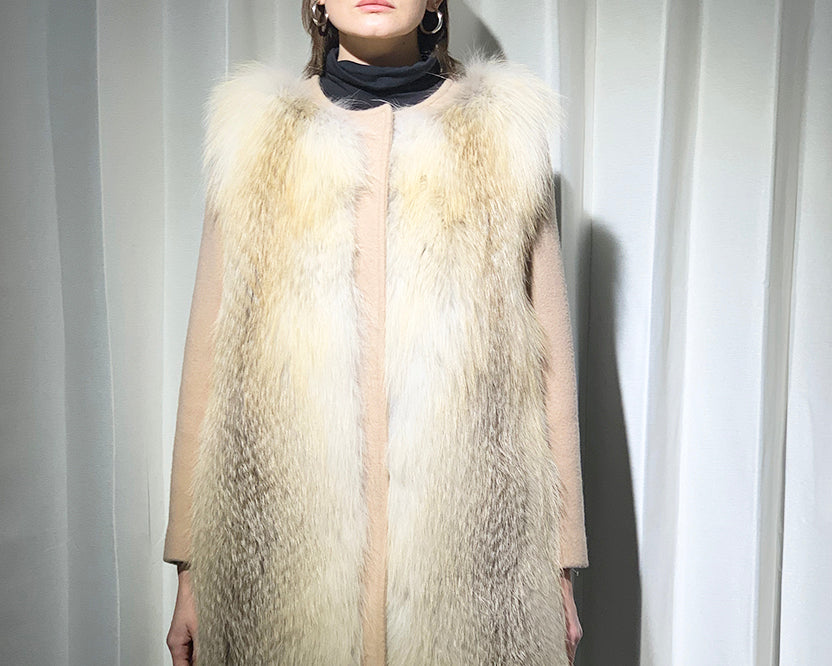 Cashmere Coat with Fox Fur