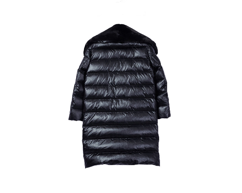 Down Coat with Detachable Mink Collar