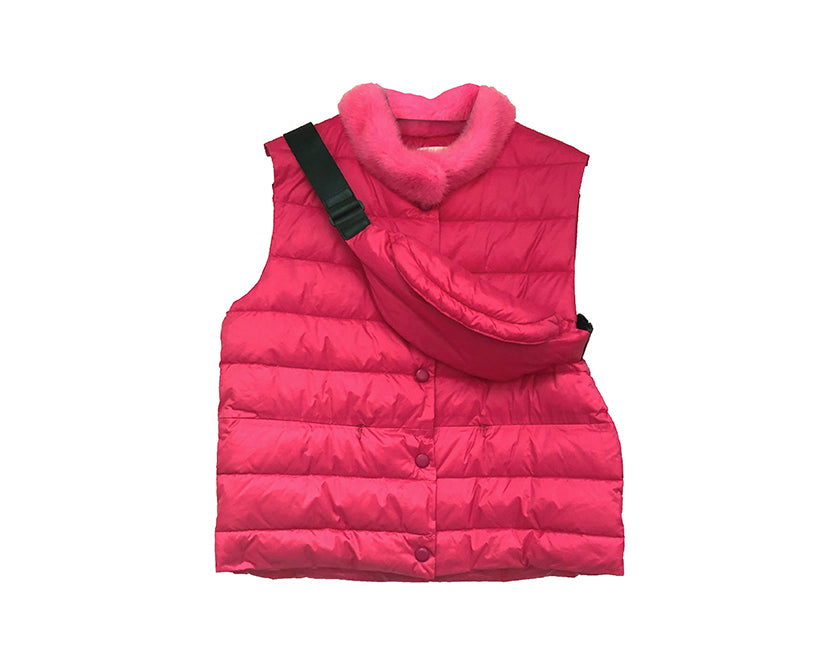 Down Vest with Waist Bag