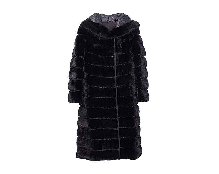 Mink Down Reversible Long Coat