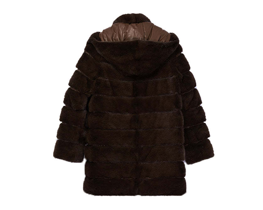Mink Down Reversible Vest with Hood