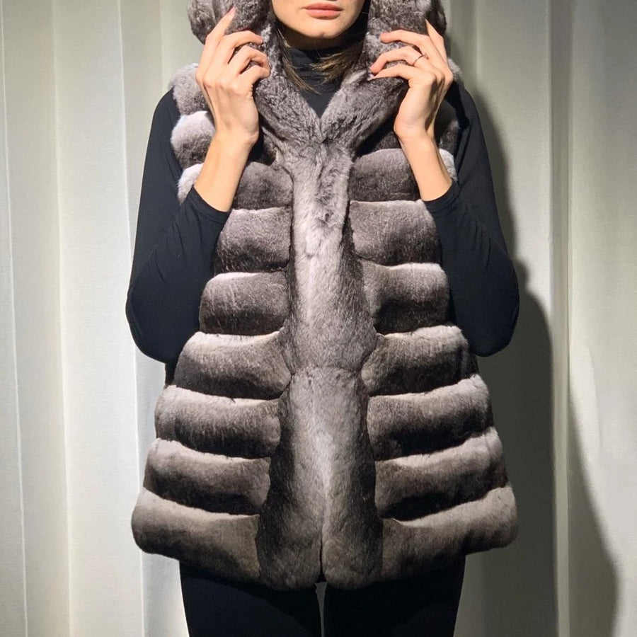 Chinchilla Vest with Cap in Natural Grey