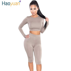 HAOYUAN 2 Piece Set Women Sexy Long Sleeve Top+Biker Shorts Track Suit Bodycon Tracksuit Casual Two Pieces Outfits Sweatsuit