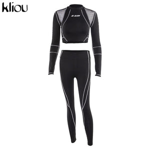 Kliou women fitness sporting two pieces set letter print turtleneck top leggings striped patchwork 2019 fashion 2 pcs tracksuits