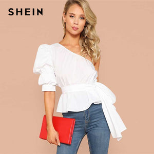 SHEIN Sexy White One Shoulder Puff Sleeve Peplum Knot Belted Top Blouse Women Summer 2019 Solid Ruffle Elegant Party Blouses