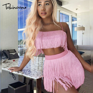 Tobinoone Women sexy club tassel short crop top women tops skirt summer 2 piece set for female women two pieces set skirts white