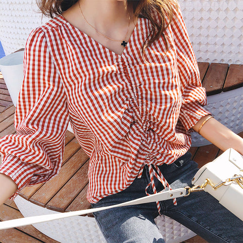 Mishow women Shirts Spring Autumn 2018 New Loose female V Neck Plaid casual Puff Sleeve ladies tops MX18C4595