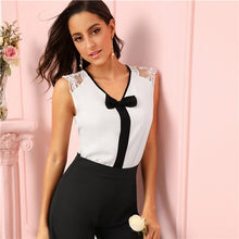 Load image into Gallery viewer, Sheinside Elegant Black Bow Detail V Neck Blouse Women 2019 Summer Sleeveless Lace Trim Blouses Office Ladies Workwear White Top
