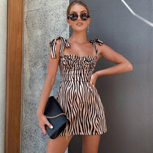 Load image into Gallery viewer, Macheda Women Fashion Slim Zebra Print Dress Sleeveless Adjustable Spaghetti Strap Bodycon Casual Vestidos Dress 2019 New
