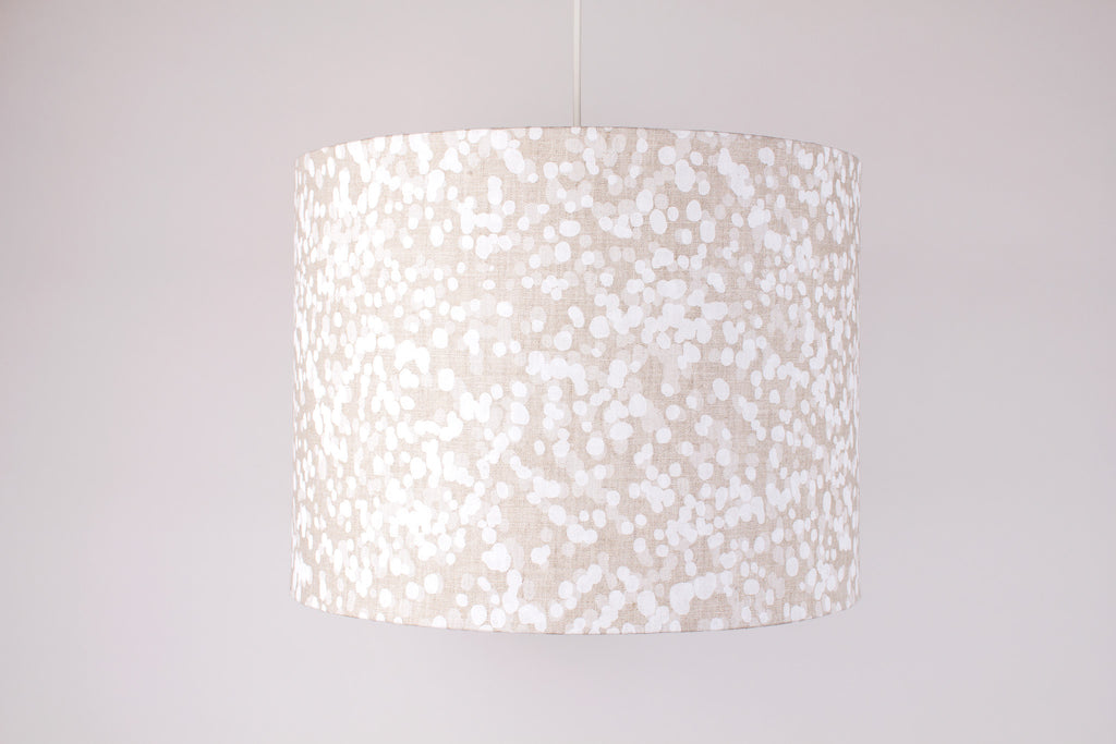 Drum Shade - Spotted Quoll in Transparent White & Snow