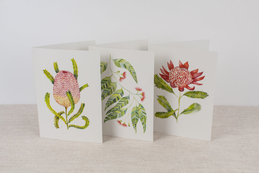 Set of 3 cards - Native Flora