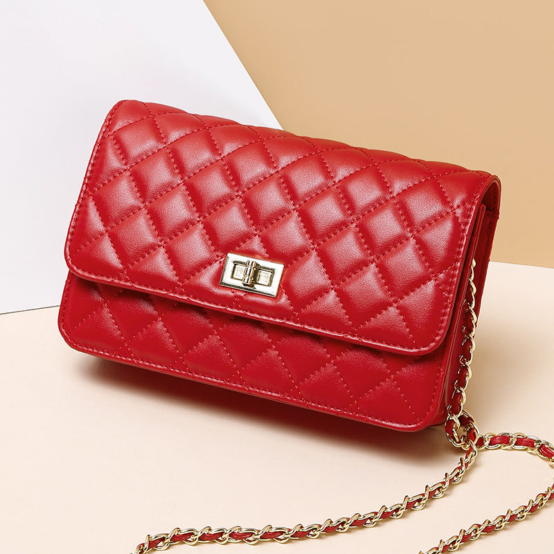 Rhombus Chain Diagonal Small Square Leather Bag