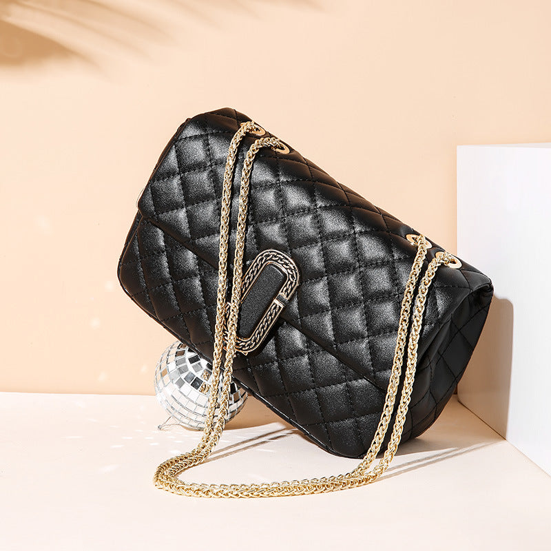 Fragrance Rhombus Embroidered Thread Chain Leather Bag