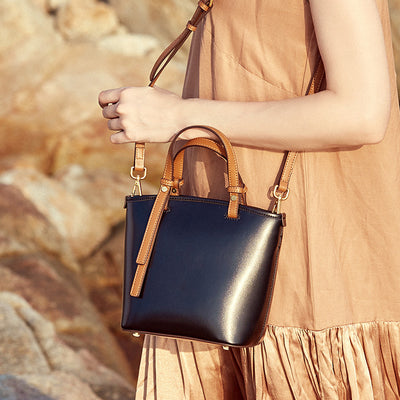 Bucket Shoulder Leather Bag