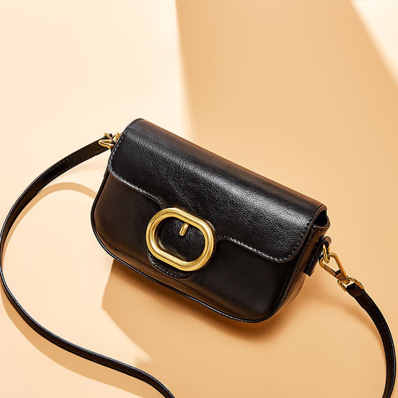 Leather Cross-Body Bag with wild Korean Pin Buckle