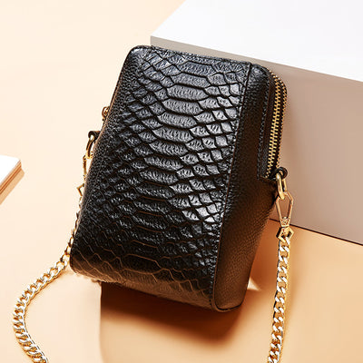 Chain Crocodile Pattern Leather Phone Bag