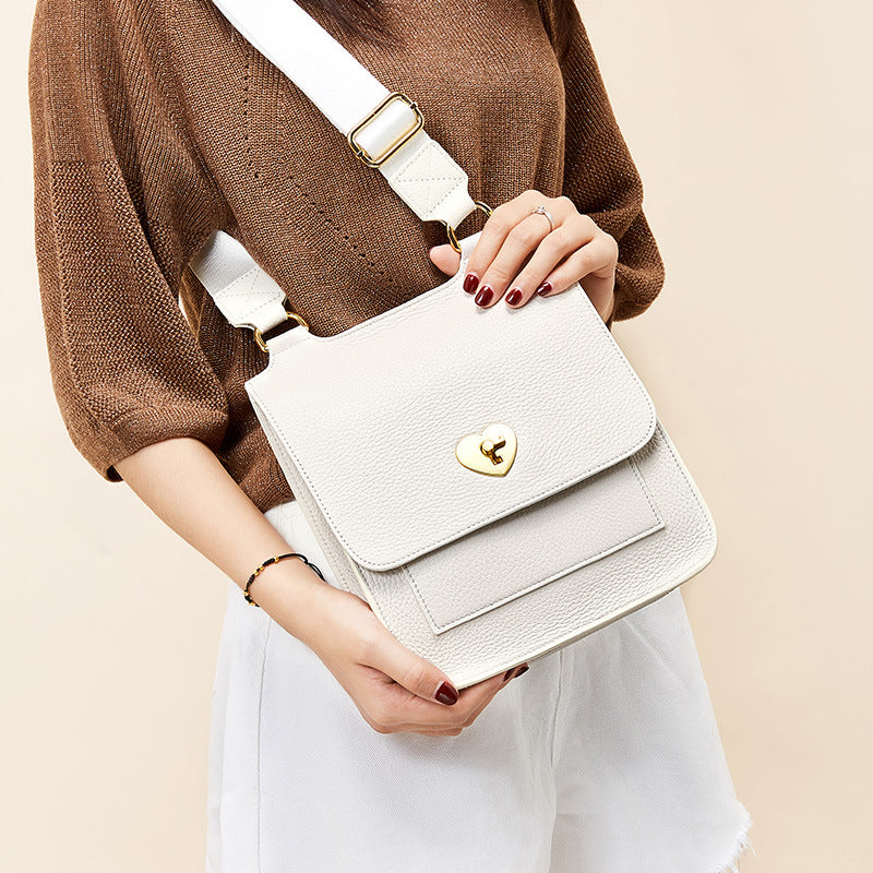 Temperament Lychee Pattern Diagonal Leather Bag