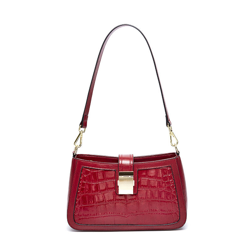 Oil Wax Cowhide Crocodile Pattern Handbag