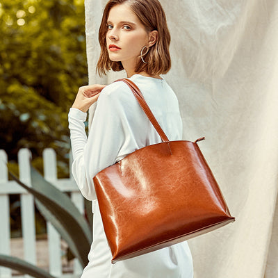 Atmospheric Portable Leather Tote Bag