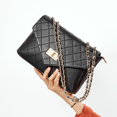 Embroidered Cowhide Rhombus Leather Chain Bag