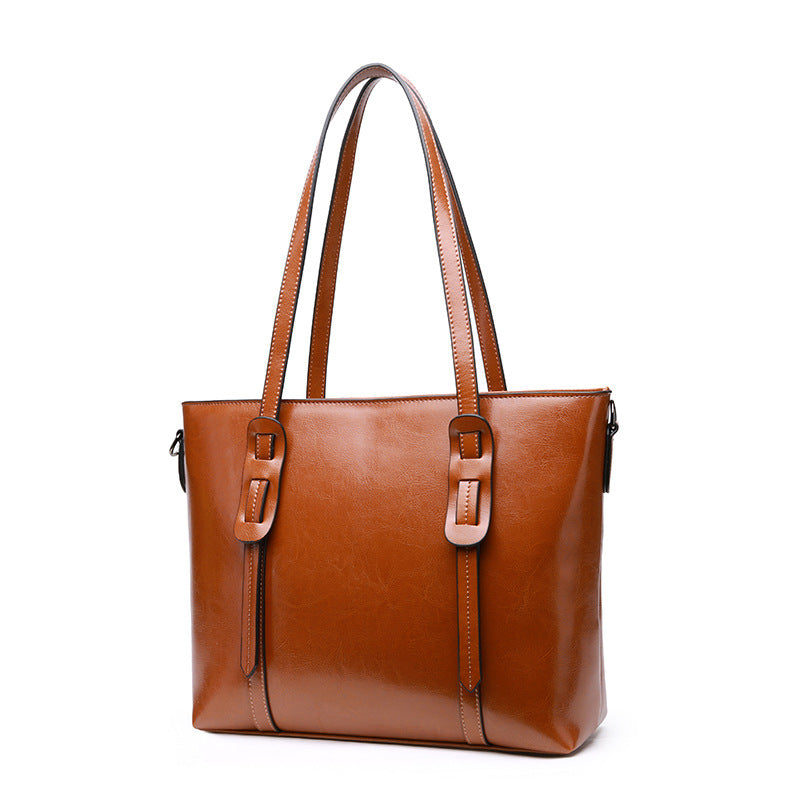 Golden Five-Shoulder Leather Bag