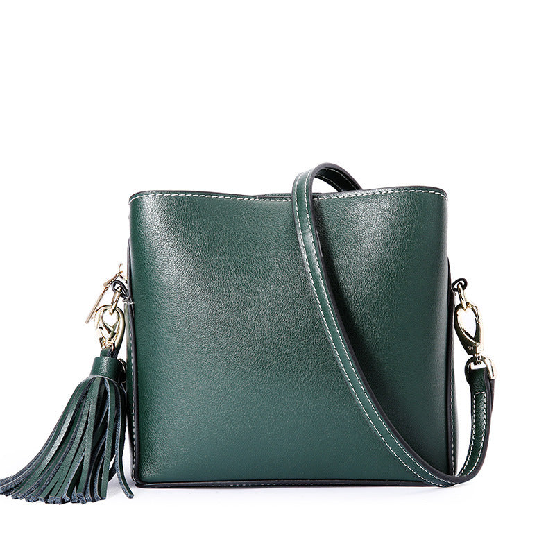 Solid Color Leather Diagonal Bags