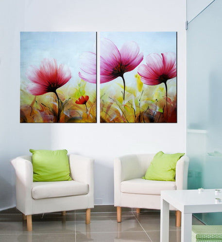 Hand Painted 'Pink Bloom' Oil Painting - CA424