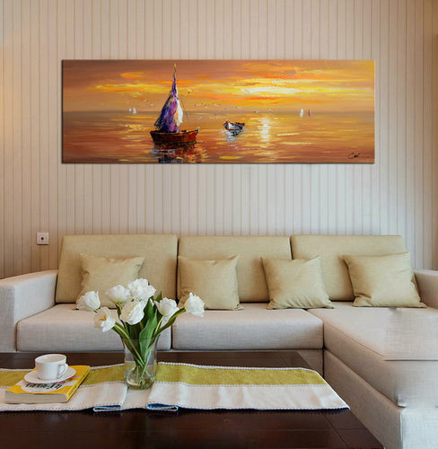 Hand Painted 'Adrift at Sunset' Oil Painting - CA846