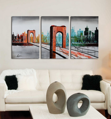Hand Painted 'City Bridge' Oil Painting - CA951