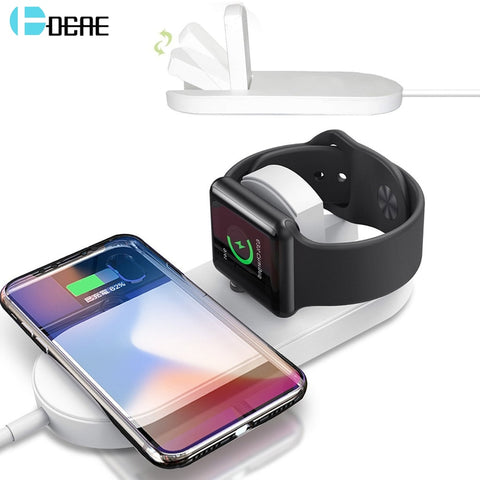 DCAE 2 in 1 Wireless Charger USB Fast Charging Phone Adapter For Apple Watch 3 iwatch 1 2 iPhone X 8 Plus Samsung S9 S8 Note 9 8