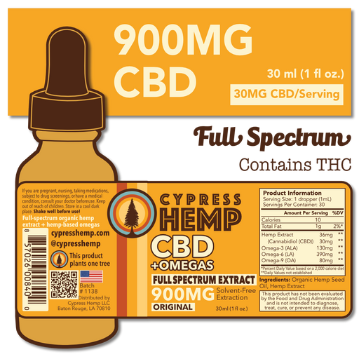 Cypress Hemp Full Spectrum CBD+Omegas | 300mg to 1800mg