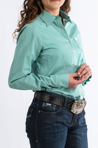 Cinch Button Up- Turquoise Plaid