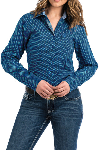 Cinch Ladies Button Up Royal Blue Print MSW9164097