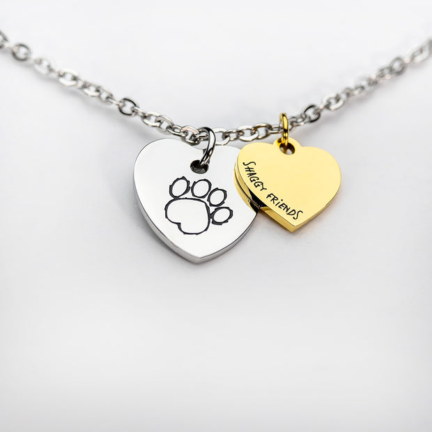 Silver- Gold 2 Heart Necklace
