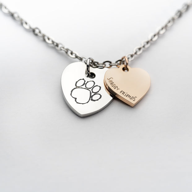 Silver-Rose Gold 2 Heart Necklace