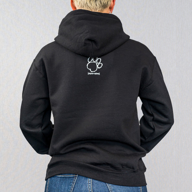 Black Shaggy Friends Collegiate Print Hoodie