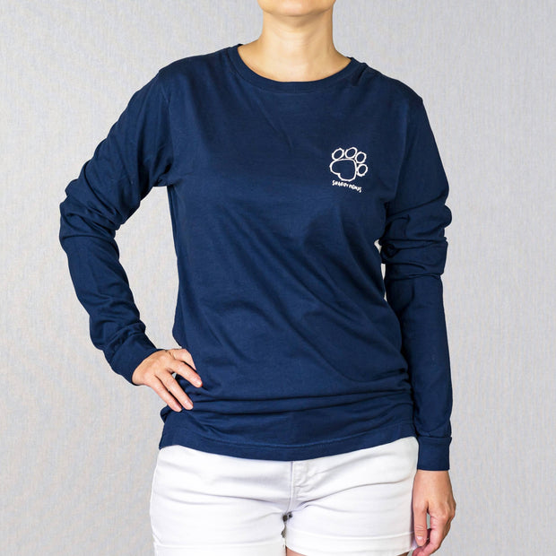 Navy Paisley Print Long Sleeve