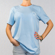 Baby Blue Shaggy Print Short Sleeve