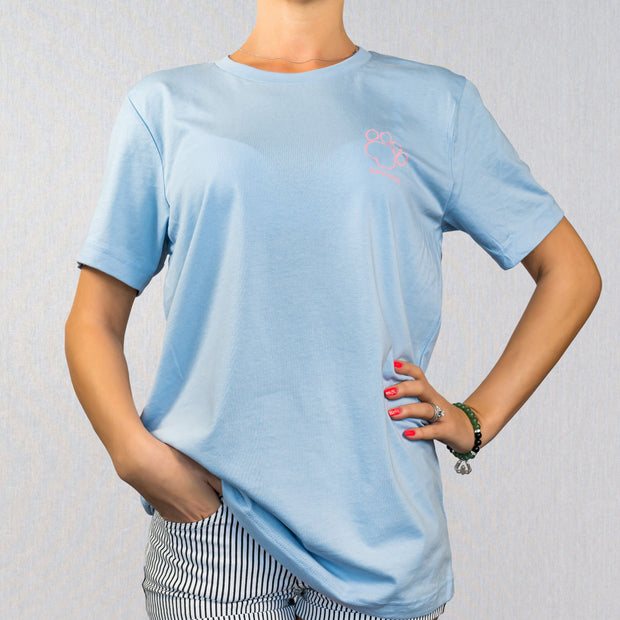 Baby Blue Paisely Print Short Sleeve
